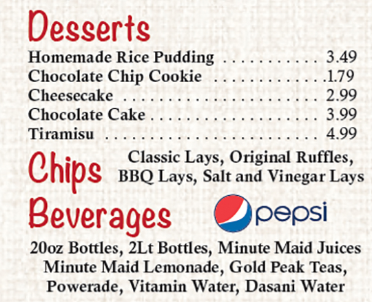 Desserts and Beverages